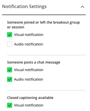 Select/Deselect Notification Settings