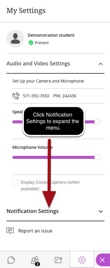 Expand the Notification Settings Menu