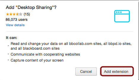 Image of the confirm installation of the desktop sharing app