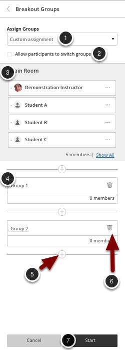 Image of the breakout groups with the following icons: 1.Assign Groups: Select the Custom Assignment button.2.Allow participants to switch groups: Select this option to permit students to change their enrolled group.3.Main Room: Participants in the main room will be listed here. Click Show All to view all participants.4.Groups: Drag participants from the main room to the desired group. Click on the group name to rename the group.5.Add group: Click the + sign to add additional groups.6.Delete group: Click on the trash can icon to delete the group.7.When finished, click the Start button to start the breakout rooms.