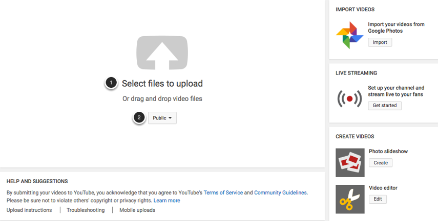Image of the upload video screen in YouTube with the following annotations: 1.Click on the link labeled Select Files to Upload or drag the file you wish to upload into this area.2.Select the desired privacy settings for the video: Public (anyone can search for and view your video), Unlisted (only those with the link can view the video), or Private (only you can view the video)