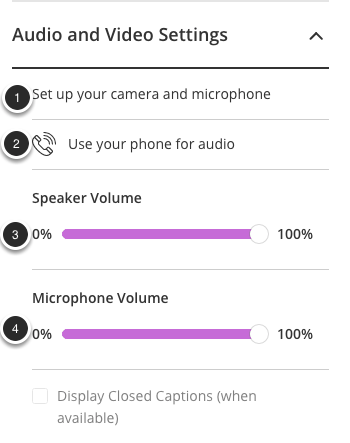 Image of the Audio and Video Settings screen with the following annotations: 1.Set up your camera and microphone: Select this option to set up or change your cameras and microphones.2.Use your phone for audio: Click this option to generate a telephone number and PIN to listen to the session audio using your telephone.3.Speaker Volume: Use the slider to adjust your speaker volume.4.Microphone Volume: Use the slider to adjust your microphone