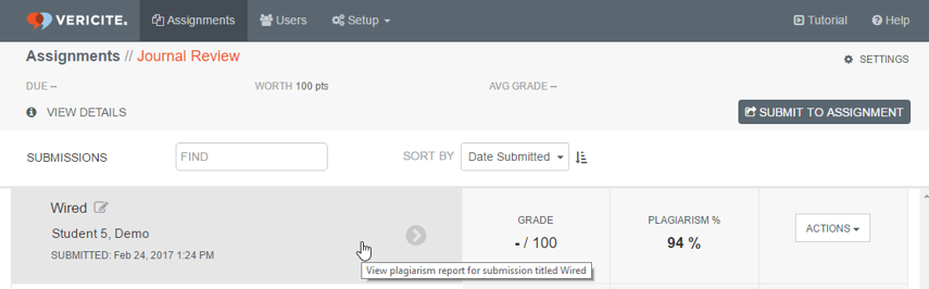 Click on the submission to view the plagiarism report.