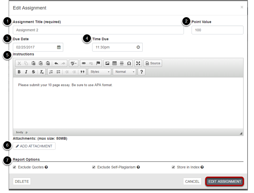 Modify the assignment information.