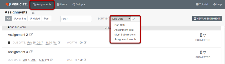 From the Assignments screen, select the Sort By drop-down menu.