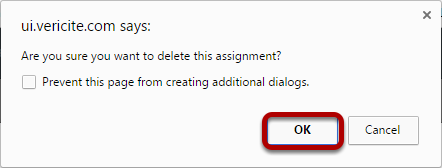 Click OK to confirm deletion.