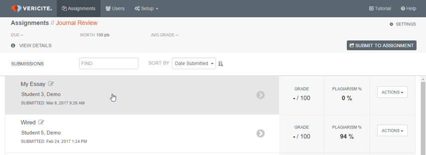 Select the report you want to grade from the assignment submissions list.