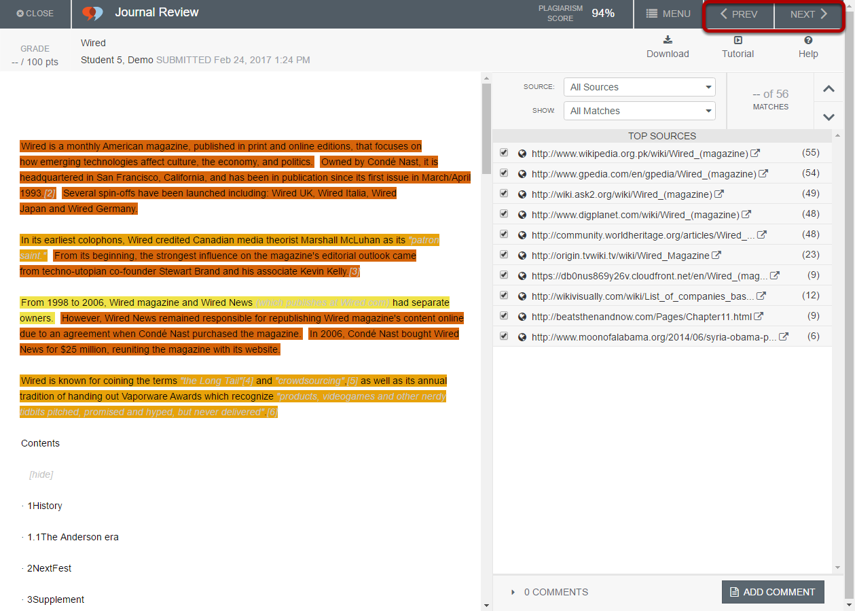 Use the PREV and NEXT buttons to view additional reports.