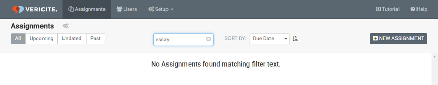If no results are found, you will see a message that there are no assignments matching your search filter.