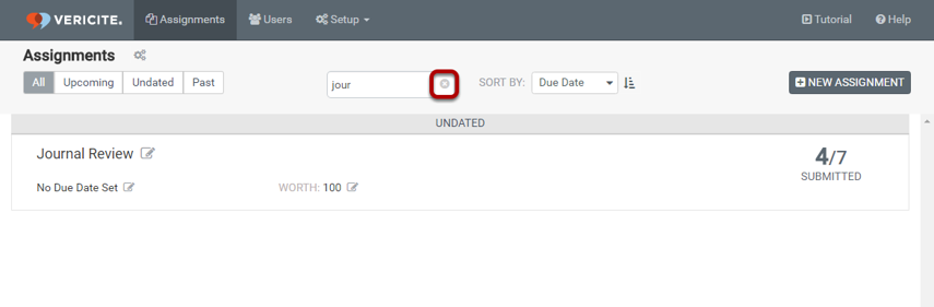 Click the X icon to clear the search filter and return to the full list of assignments.