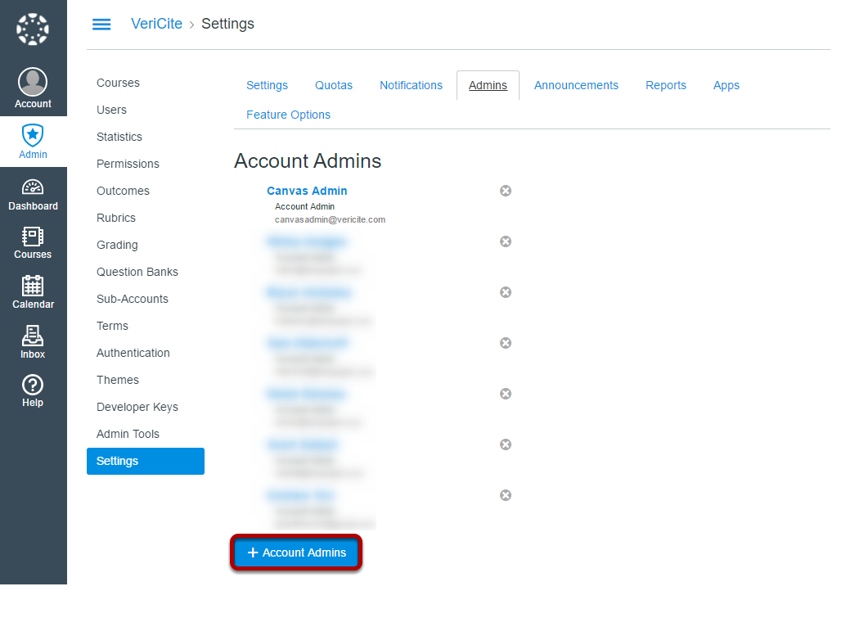 Click + Account Admins.