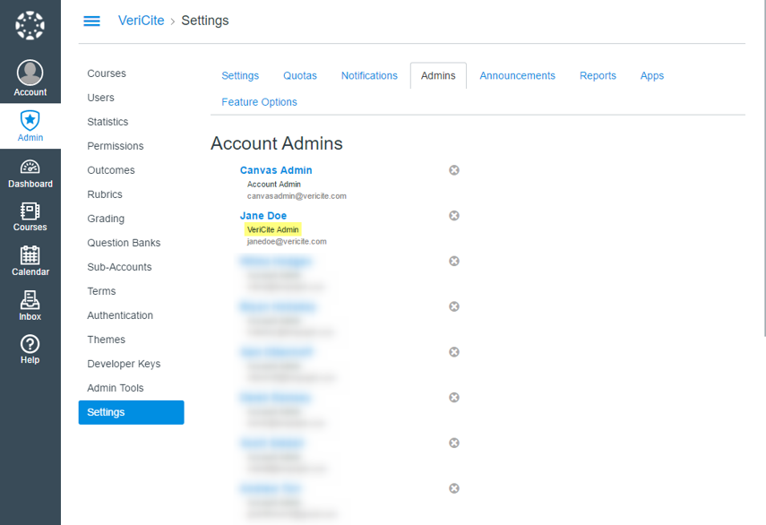 Your VeriCite Admin has now been added.