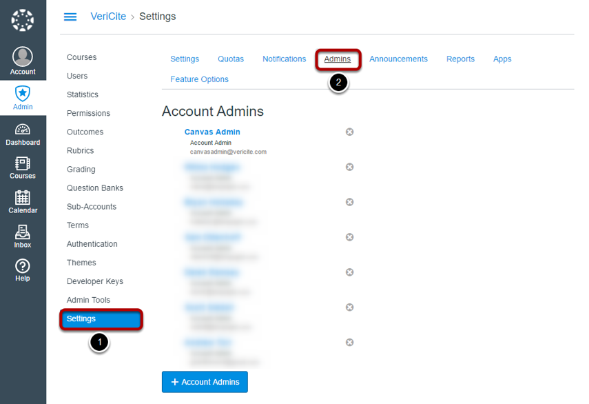 Go to Settings and select the Admins tab.