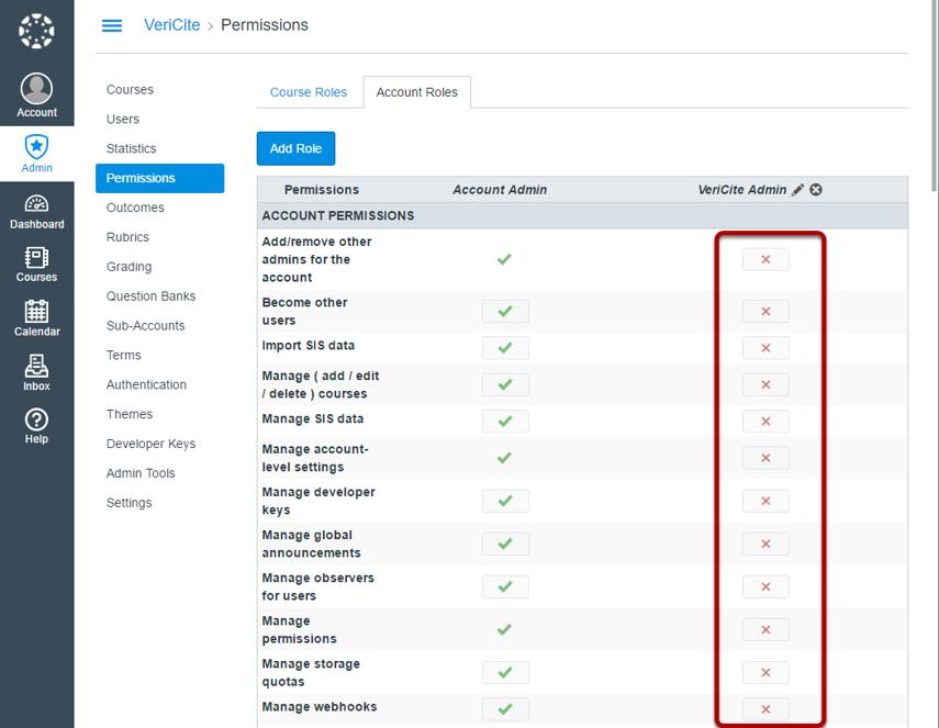 Make sure that the VeriCite Admin role has no permissions.