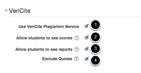 Select VeriCite Plagiarism Service.
