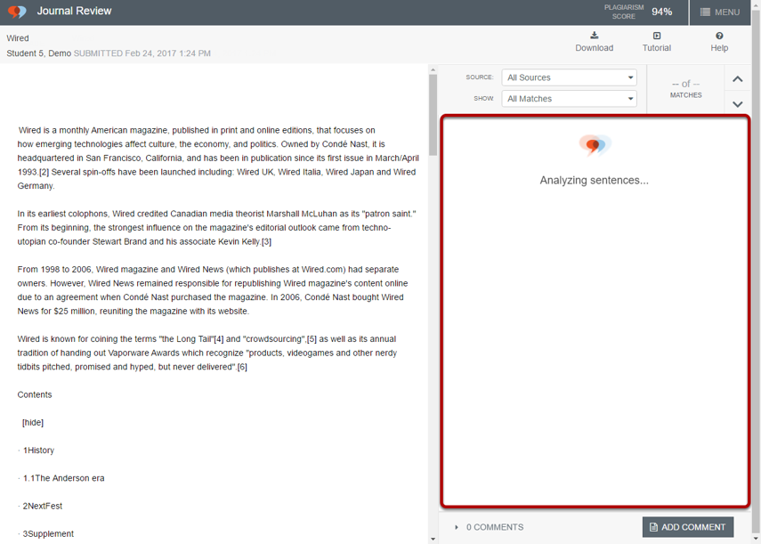 The report progress will be shown in the sources pane on the right side of the screen.