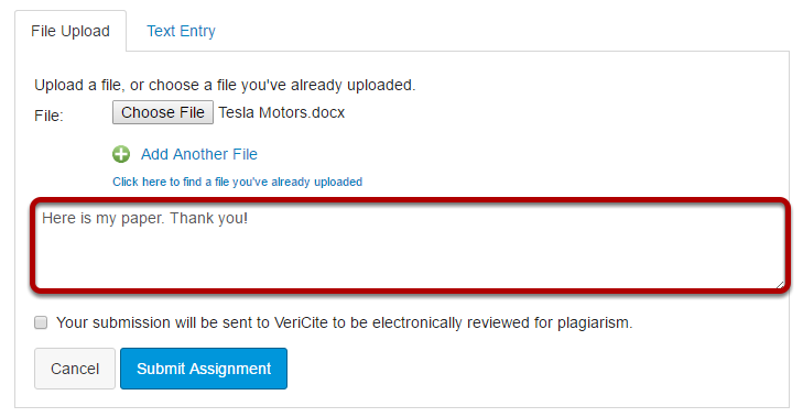 Enter comments regarding your submission. (Optional)
