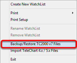 2. Select Backup/Restore TC2000 v7 Files.