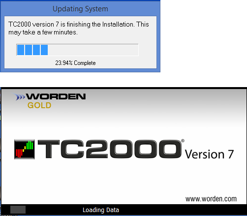 12. TC2000 will finalize the installation, this could take 5 minutes to an hour (Depending on the speed of your computer).