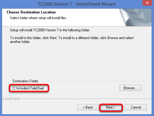 Choose the file path to install to, we recommend the default file path of C:\Worden\TeleChart