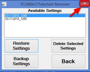 23. Close the TC2000v7/Telechart Remover.