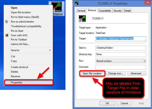 You could also click Properties then select Open File Location or Find Target File if you are using an older version of Windows.
