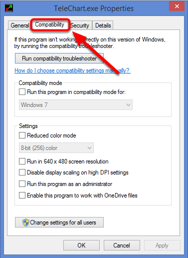 5. Select the Compatibility tab.