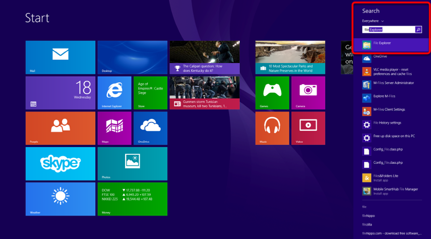 """In Windows 8 type """"File Explorer"""" while on the home screen then select it from the search results."""