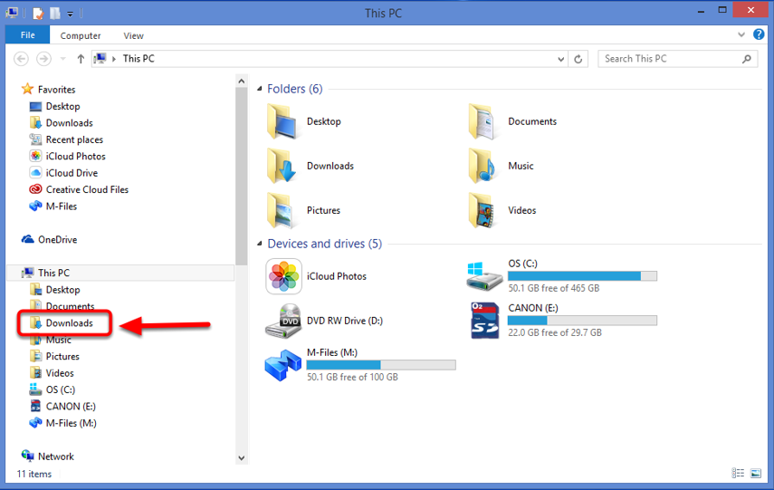5. Select the Downloads Folder.