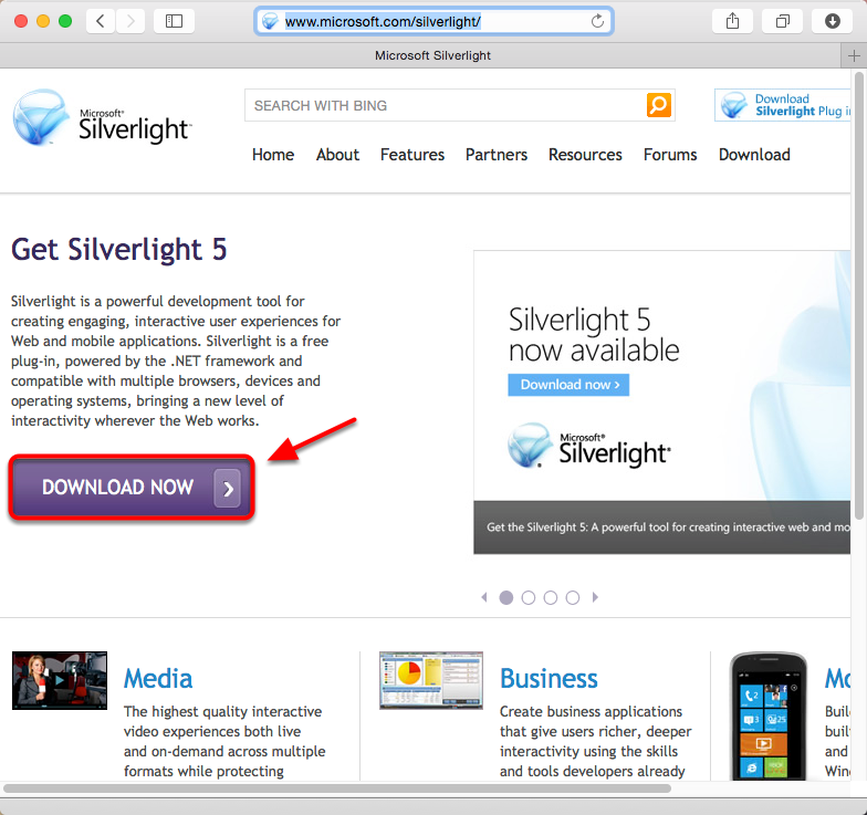10. Open your web browser, go to www.microsoft.com/silverlight/ and click the Download Now button.