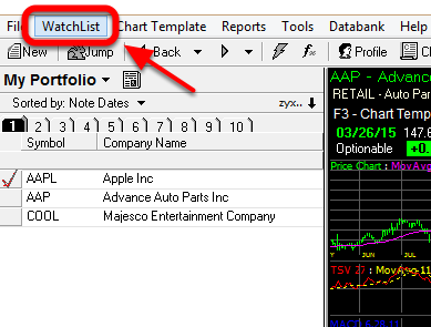 2. Click the WatchList drop-down.
