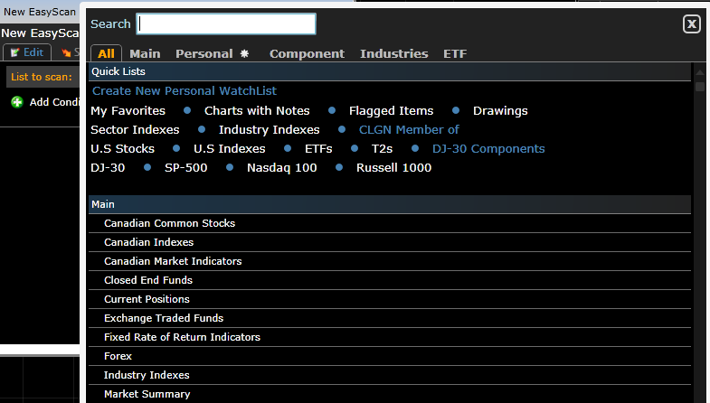 To select a different list click on the List Name and then select the desired one from the list of available watchlists.