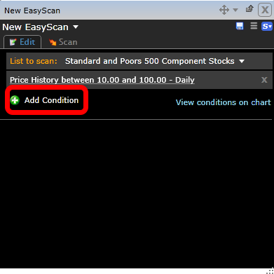 5. To add the next condition (Average Volume Greater than 500,000 shares per day) click on + Add Condition.