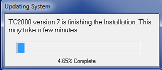 TC2000 will finalize the installation, this could take 5 minutes to an hour (Depending on the speed of your computer).