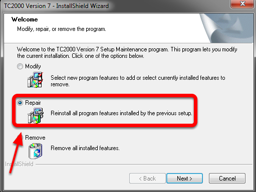 3.  Choose the Repair Option in the TC2000 Version 7 - IntallShield Wizard WIndow.