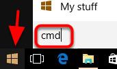 1. Go to start and type cmd.