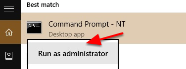 """2. Right-click on cmd and select """"Run as Administrator""""."""