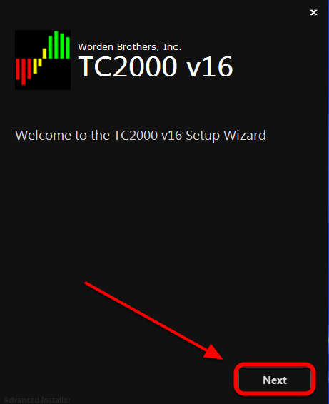 4.  Click Next in the Welcome to the TC2000 v16 Setup Wizard window.