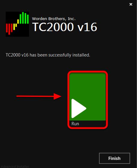 6. Click Run to Launch TC2000 v16.