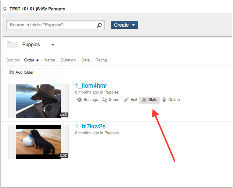 """Navigate to the video and select the """"stats"""" icon"""