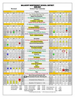 2020-21 Revised School Calendar