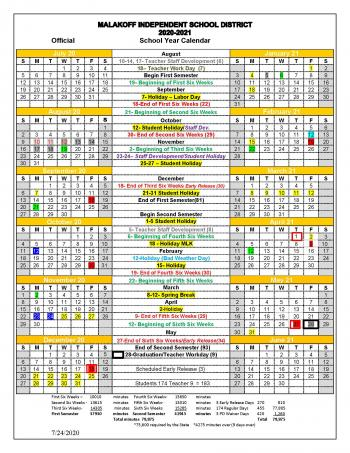 2020-21 Official School Calendar