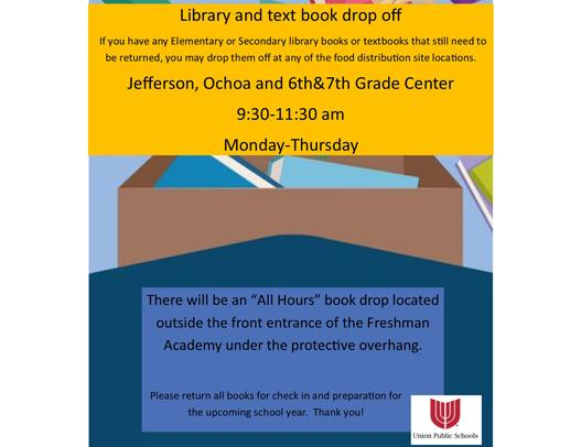Please Return Your Books; See Library & Textbook Drop Off Instructions