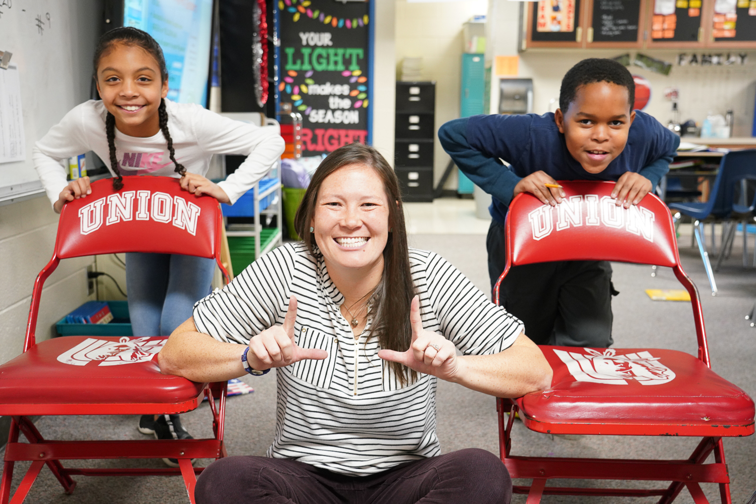 """Jarmey Dake, 4th Grade Fourth grade teacher Lacey Dake has been named the 2019-2020 Teacher of the Year for Jarman Elementary School. Dake started teaching at Union Public Schools in 2010 at what used to be the Union Intermediate High School. Furthermore, she said, """"I am a Union Lifer! I went to Grove Elementary and graduated in 2006.  I graduated from Missouri State University in 2010 with my bachelor's of science in elementary education. I am also certified in early childhood Education. Dake said, """"I became a teacher to make a difference in children's lives – to know they have someone in their corner rooting them on through life.  I love working with kids.  I hope to inspire them and spark a love for learning just as my past educators did for me."""" Her favorite subject to teacher is math. """"I love that math is universal!  I enjoy using manipulatives and playing games to help students grasp the many mathematical concepts in fourth grade.""""  One could say that Dake's love for students and Union just adds up!"""