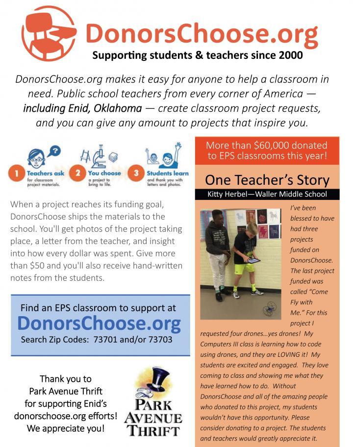Enid Public School About Donorschoose