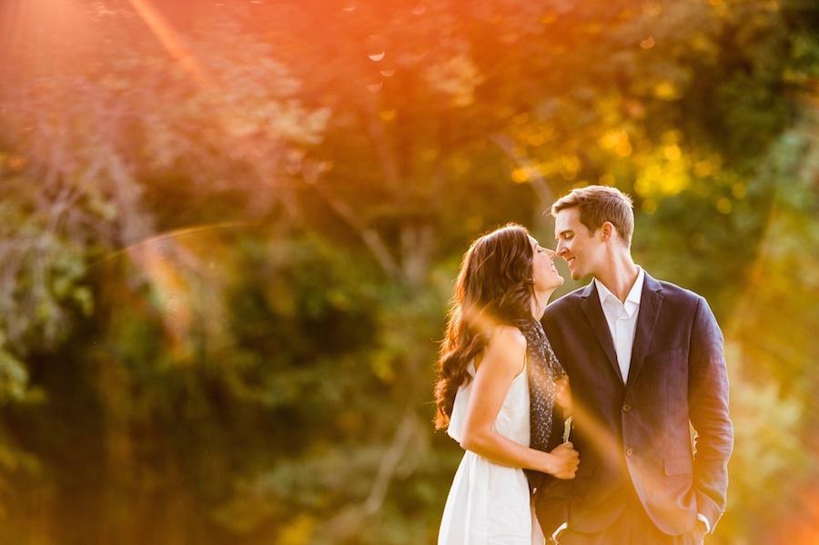 sunflare wedding couple