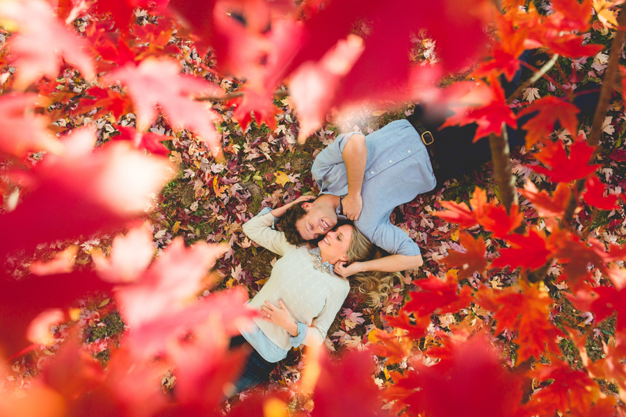 engagement shoot fall leaves
