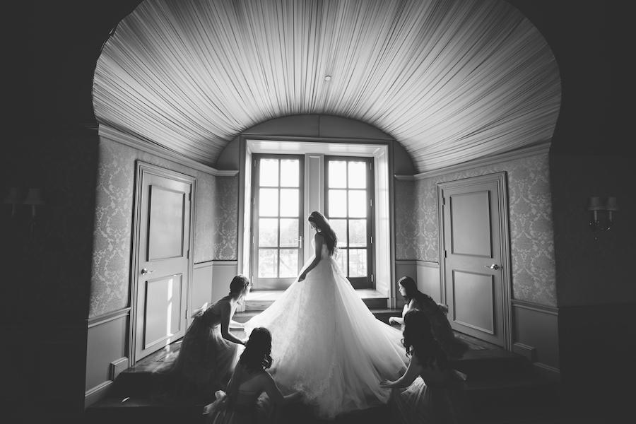 black and white bridal prep