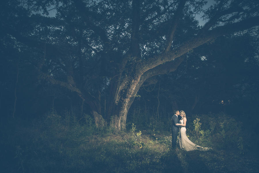 wedding portraits tree background