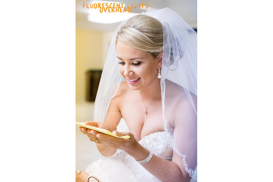 fluorescent lighting bridal portraits